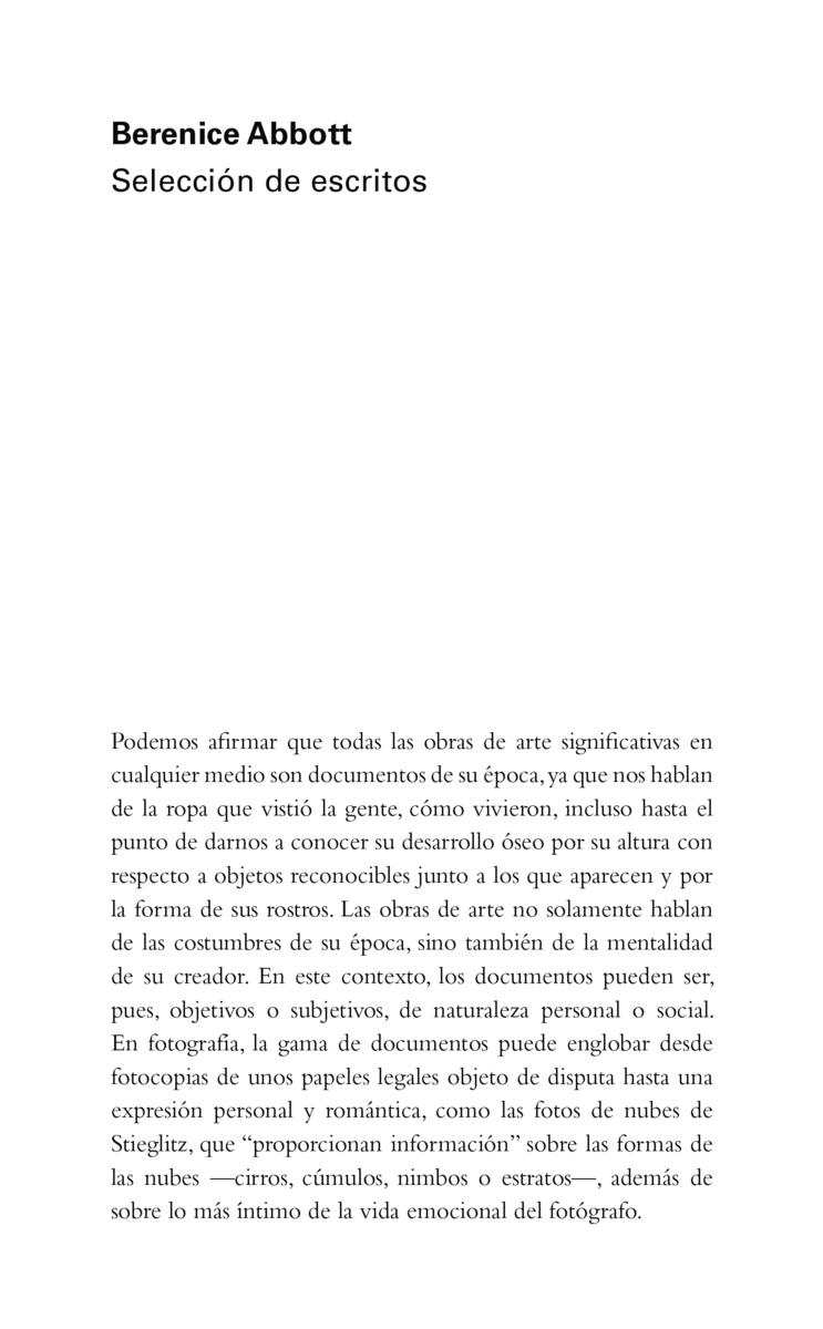 Berenice Abbott: Selección de escritos: portada