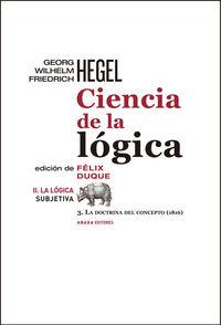 CIENCIA DE LA LóGICA II. LA LóGICA SUBJETIVA: portada