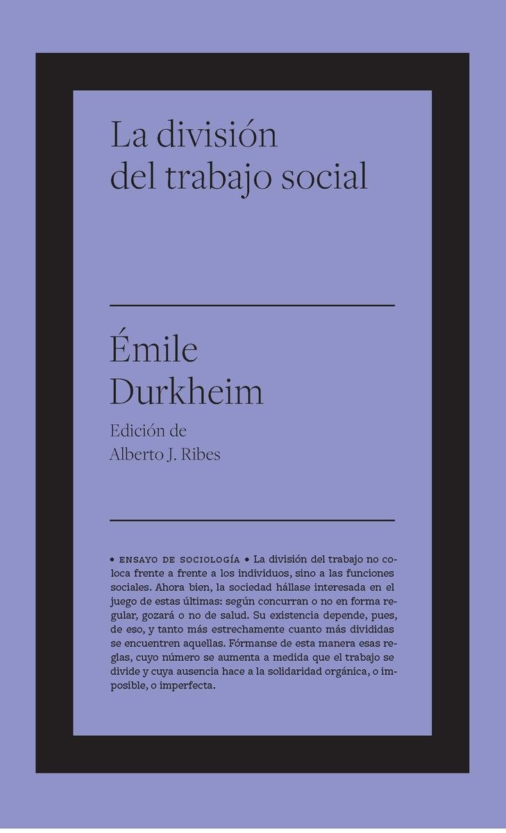 La división del trabajo social: portada