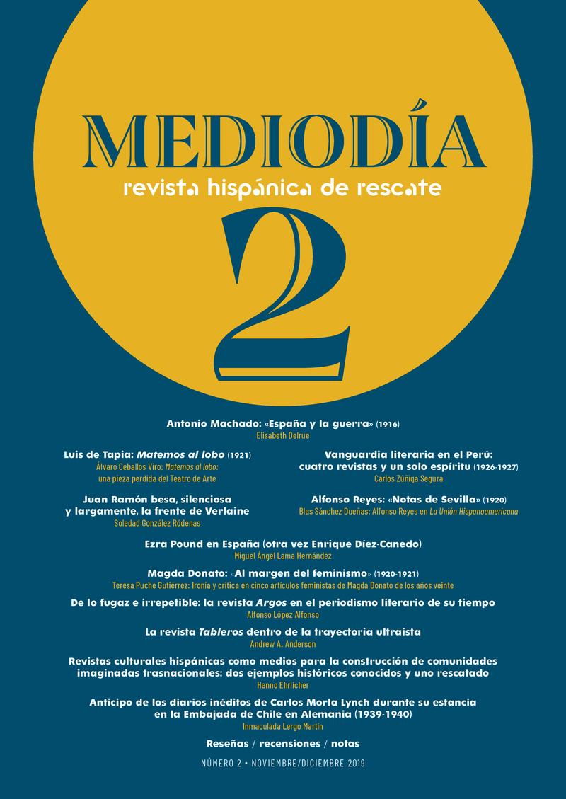 Mediodía. Revista hispánica de rescate. 2: portada