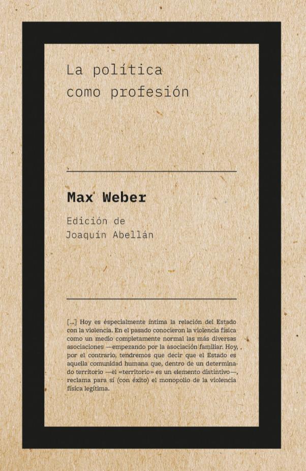 La política como profesión (2ªED): portada