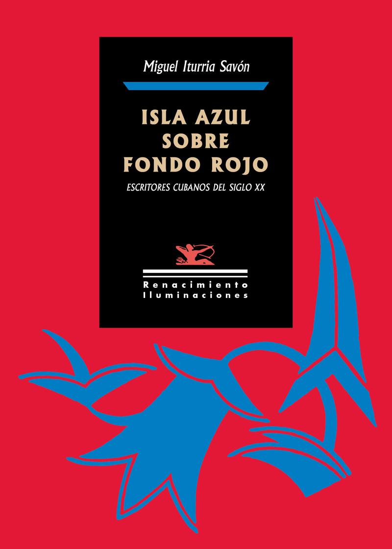 Isla azul sobre fondo rojo: portada