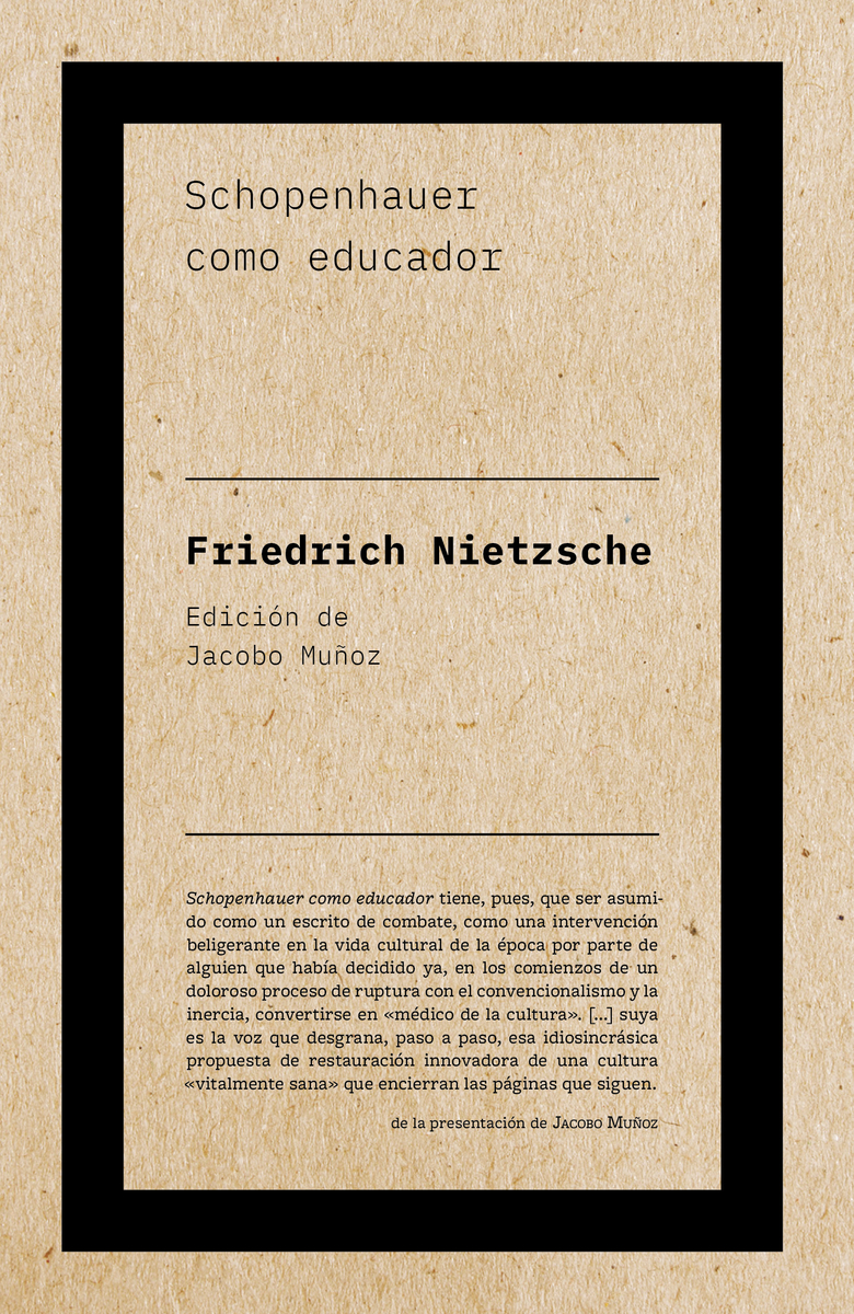 Schopenhauer como educador (2ªED): portada