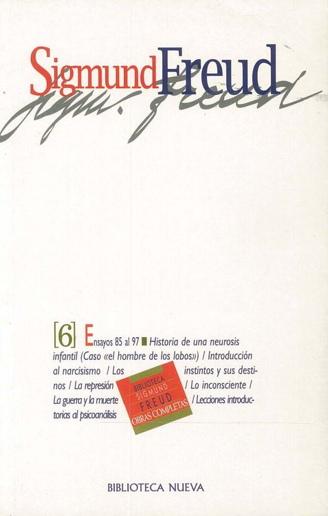 OBRAS COMPLETAS SIGMUND FREUD, TOMO VI, ED.BOLSILLO: portada
