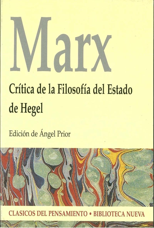 CRÍTICA DE LA FILOSOFÍA DEL ESTADO DE HEGEL: portada