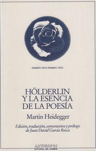 HOLDERLIN Y LA ESENCIA DE LAS POESIA: portada