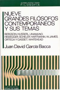 NUEVE GRANDES FILOSOFOS CONTEMPORANEOS: portada
