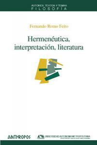 HERMENEUTICA INTERPRETACION LITERATURA: portada
