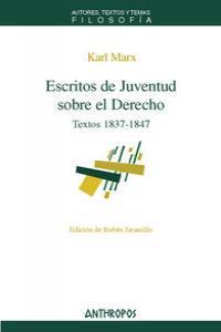 ESCRITOS DE JUVENTUD SOBRE EL DERECHO: portada