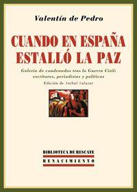 Cuando en España estalló la paz: portada