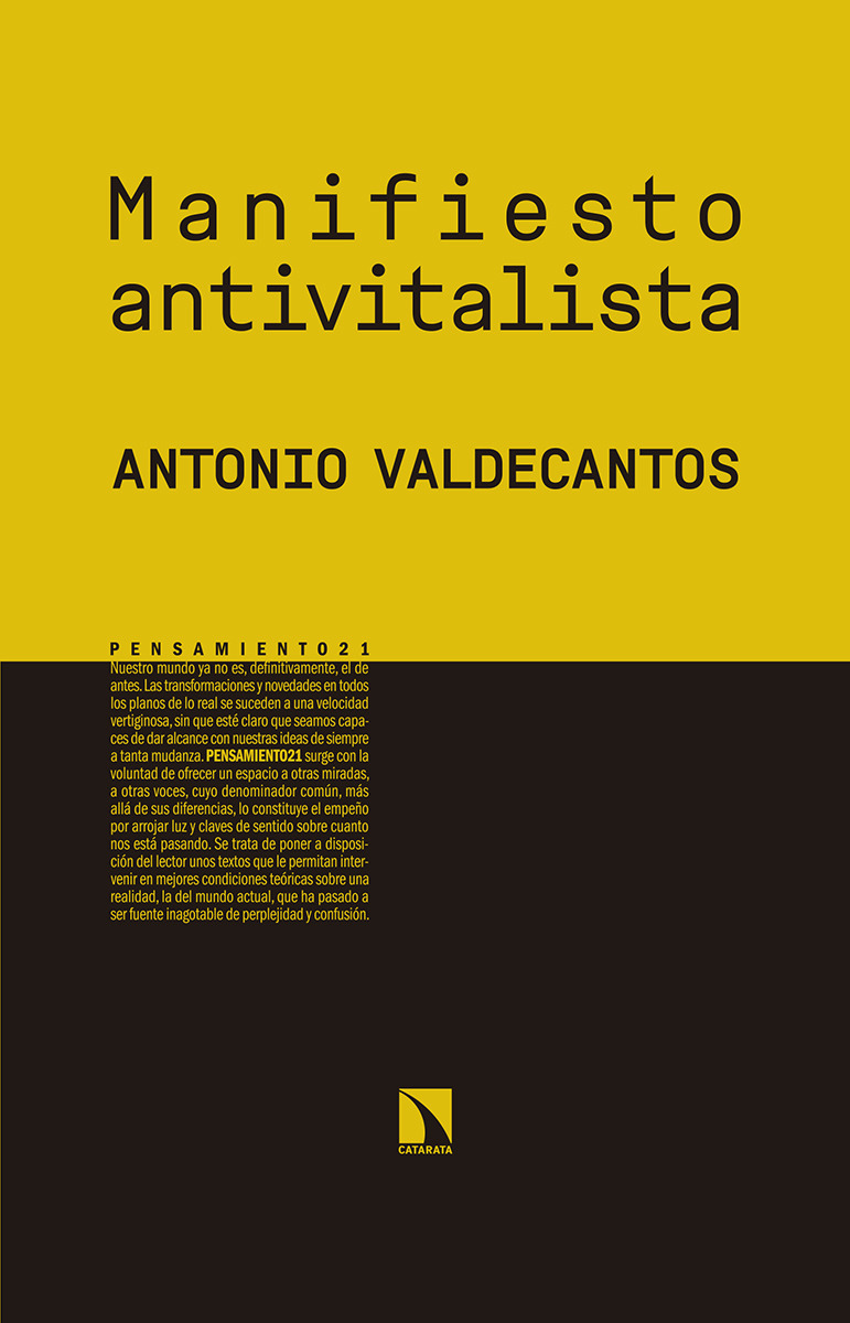 Manifiesto antivitalista: portada