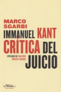 Immanuel Kant. Crítica del juicio: portada