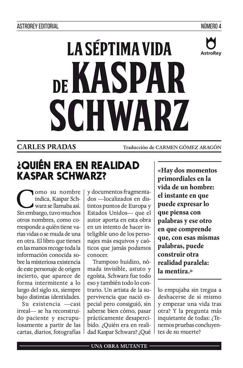 La séptima vida de Kaspar Schwarz: portada