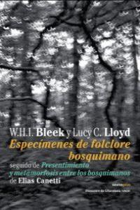 ESPECIMENES DE FOLCLORE BOSQUIMANO: portada