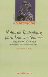 NOTAS DE TAUTENBURG PARA LOU VON SALOM�: portada