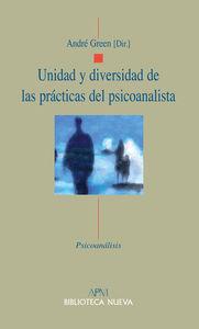 UNIDAD Y DIVERSIDAD DE LAS PRáCTICAS DEL PSICOANALISTA: portada