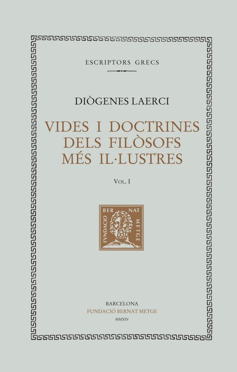 VIDES I DOCTRINES DELS FILòSOFS MéS IL·LUSTRES, VOL. I (LLIB: portada