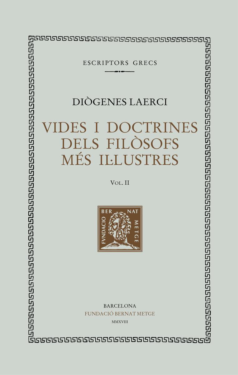 VIDES I DOCTRINES DELS FILÒSOFS MÉS IL·LUSTRES, Vol II (Tela: portada