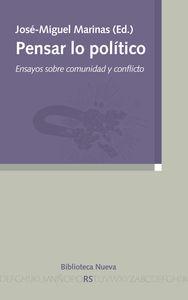 PENSAR LO POLíTICO: ENSAYOS SOBRE COMUNIDAD Y CONFLICTO: portada