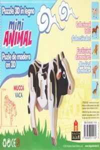 VACA MINI ANIMAL PUZLE DE MADERA EN 3D: portada
