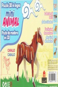 CABALLO MINI ANIMAL PUZLE DE MADERA EN 3D: portada