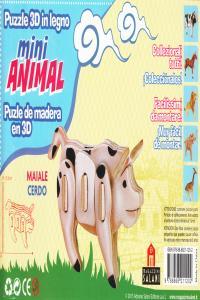 CERDO MINI ANIMAL PUZLE DE MADERA EN 3D: portada