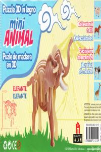 ELEFANTE MINI ANIMAL PUZLE DE MADERA EN 3D: portada